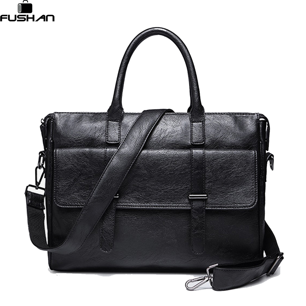 Young fashion Leather men bag Shoulder Bags Brand New vintage laptop business Men s travel bags