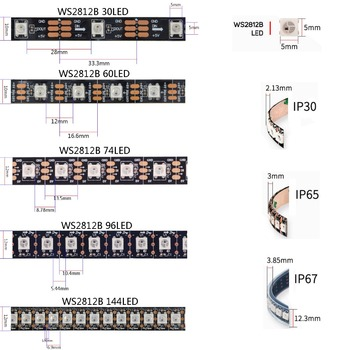 1m 2m 3m 4m 5m WS2812B WS2812 Led Strip,Individually Addressable Smart RGB Led Strip,Black/White PCB Waterproof IP30/65/67 DC5V 1