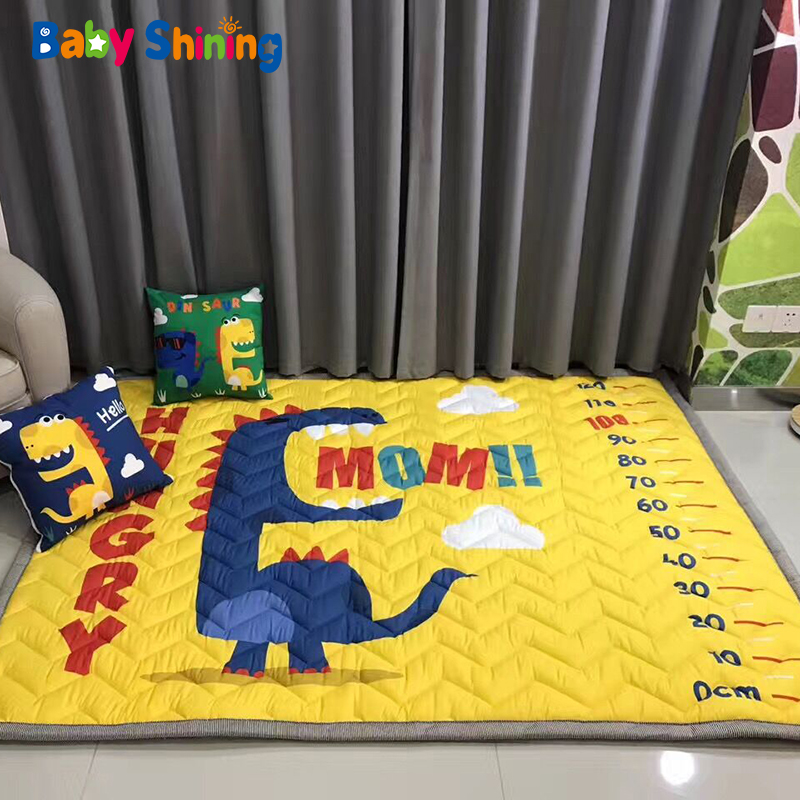 Baby Shining Cotton Baby Mat 2cm Thick Play Mat For Living Room 140*195cm(55*76in) Folding Non Slip Bedroom Carpet Winter
