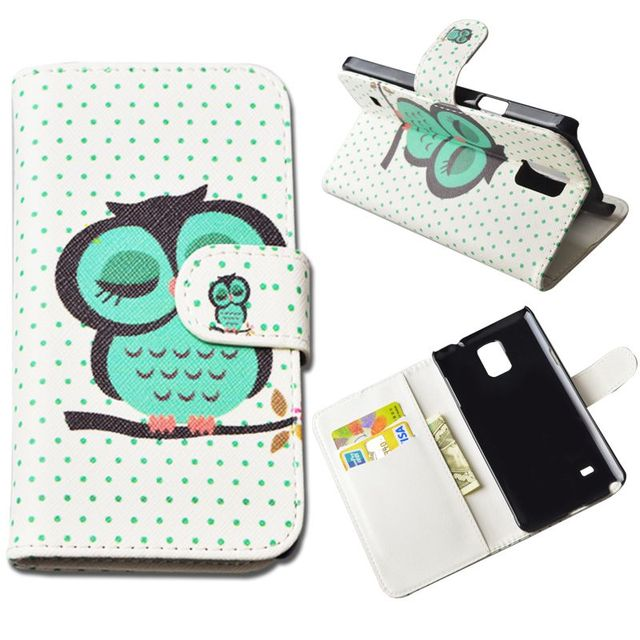 Fashion Flip PU Leather Printed Case for Samsung Galaxy Note 4 N9100 SM-N910S SM-N910C Wallet Pattern Card Insert Stand Cover