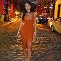 Metgala 2016 summer new women hot orange front split v neck bandage dresses sexy leather evening party dress dropshipping HL727