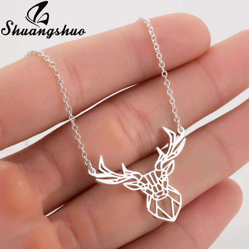 Shuangshuo Deer Origami Necklace For Women Silver Choker Necklaces Stainless Steel Geometric Necklace Nature Animal Jewelry Gift