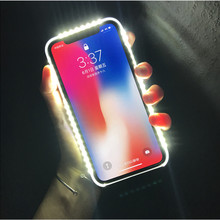 Interesting Glow Phone Case For iPhone X XS XR  8 Plus, Photo Fill Light for iPhone 6 6s 7 7plus Selfie for iphone 5 5S XSMAX for iphone xs max selfie stick for iphone 7 8 plus x xr selfie wired palo selfie mirror for iphone 6 6s plus 5s se for lightning