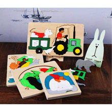 лучшая цена Free shipping Kids' 3D Cartoon Animal Wooden Puzzle Toy /children' Wood Puzzle Toy / Cartoon Pattern Multi-Layers, Baby gift
