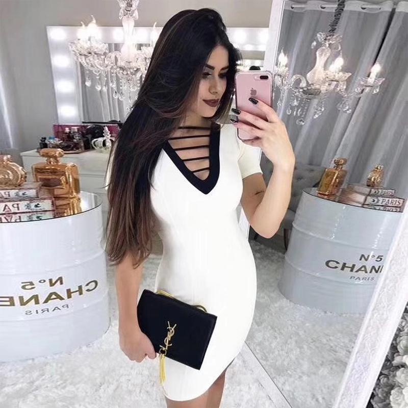 High Quality Rayon White Bandae Dress Women Short Sleeve Hollow Out Bodycon Midi Wedding Party Casual Dress Vestidos Wholesale