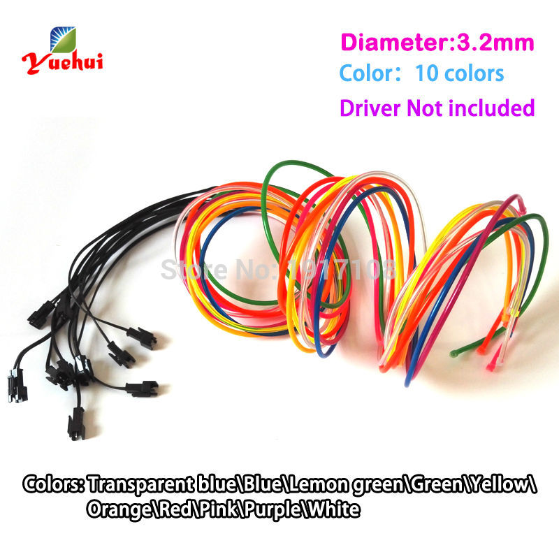 New arrival 1Meter 3.2mm 10 Color optional cut into any length EL wire Neon Thread Not Include Party Supplies