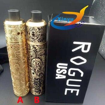 ROGUE MOD kit Mechanical Mod 18650 battery Red Copper/brass 24mm Carved Tube e-cigarette Mech Mods vs AvidLyfe mod kit with rda e cigarette mech mod kit built in 18650