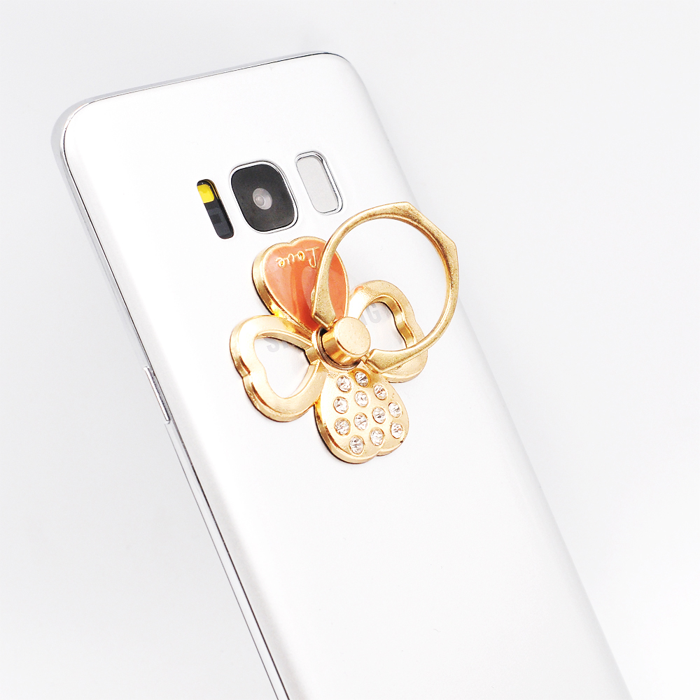 Four Leaf Clover diamond 360 Degree Finger Ring Buckle Phone Pop Holder For iPhone Samsung Xiaomi