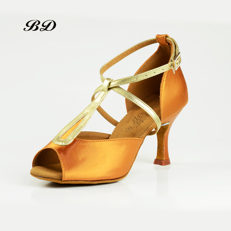 02039e42e Sneakers Top Grade WOMEN Dance Shoes Latin Shoes Imported Satin BD 2369  Diamond Buckle Thin High heels Sandals Golden Shoelaces