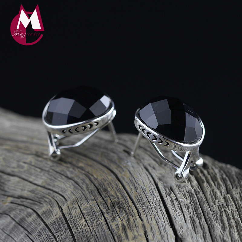 100% 925 Sterling Silver Earrings For Women Black Agate Gemstone Stud Earrings Silver 925 Jewelry Accessories New Arrival SE38