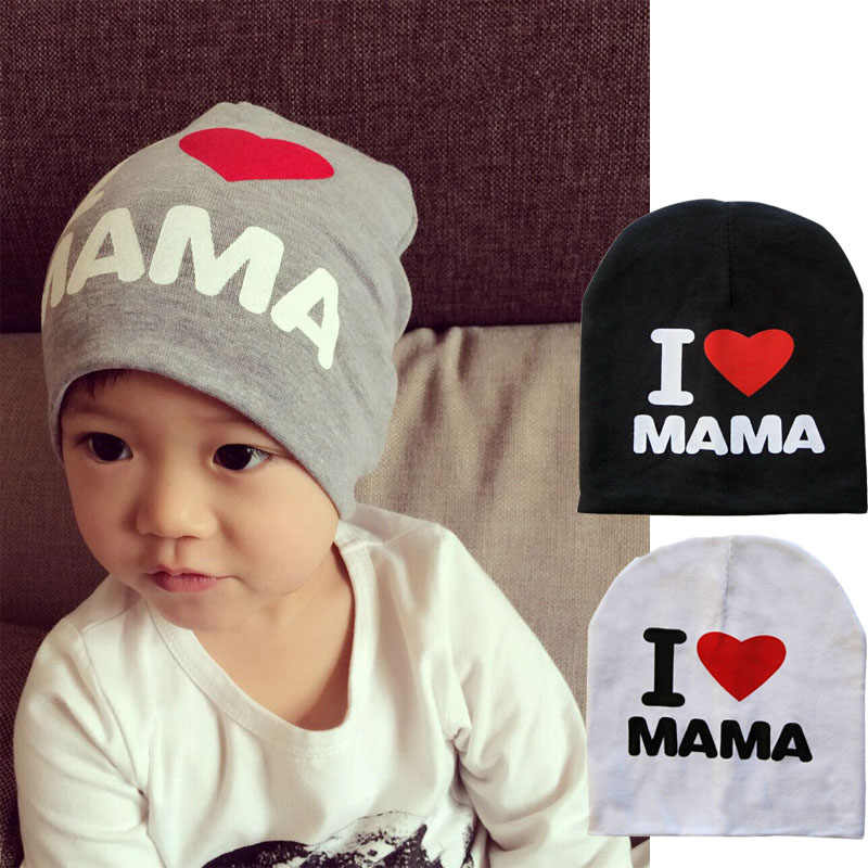 2017 Spring Autumn Baby Knitted Warm Cotton Beanie Hat For Toddler Baby Kids Girl Boy I LOVE PAPA MAMA Print Baby Hats