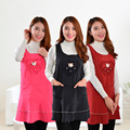 Love Heart Kitchen Restaurant Cooking Aprons For Women With Pocket Work Apron Waterproof  Waiter Kitchen Cook Tool U0725
