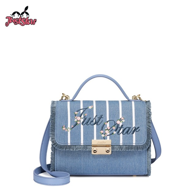 53c78236e4 JUST STAR Women s Denim Handbags Ladies Vintage Embroidery Lock Shoulder  Purse Female Leather All-match Flap Messenger Bags