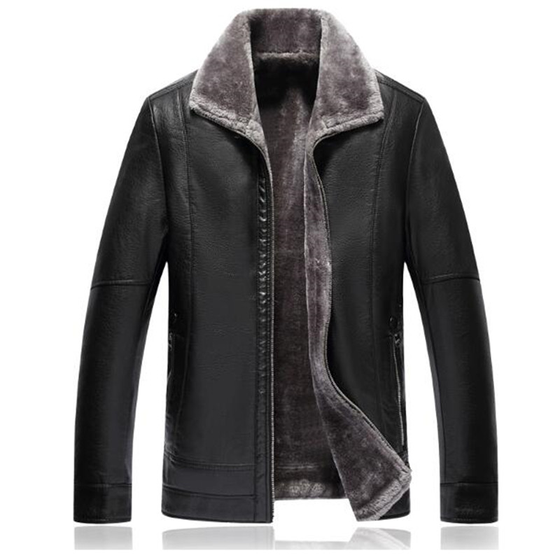 Men leather Jacket 2018 Winter Jackets Clothes Long Casual Thick Faux Fur mens brand leather jackets Warm