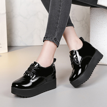 Platform Sneakers Women Casual Shoes Woman Lace Up Patent Leather Loafers Hight Increased Slip on Ladies Creepers Solid Oxfords Сникеры