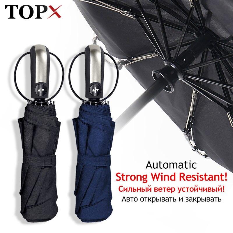 Parapluie résistant au vent pluie femmes pour hommes cadeau 3 Parasol pliable entièrement automatique Compact grand voyage voiture d'affaires 10K parapluies