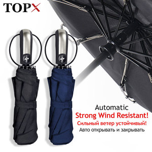 Wind Resistant Umbrella Rain Women For Men Gift 3Folding Fully-Automatic Parasol Compact Large Travel Business Car 10K Umbrellas(China)
