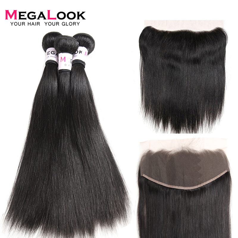 Megalook Peruvian Straight Hair Bundles with Frontal Remy Human Hair Bundles with Frontal Natural Color