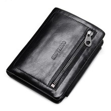 Brand Wallet Three Fold Men Genuine Leather Wallet Vintage Zipper Wallet Holder Clip Purse heren portemonnee heren portefeuille