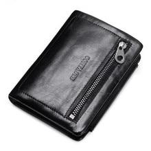 Brand Wallet Three Fold Men Genuine Leather Wallet Vintage Zipper Wallet Holder Clip Purse heren portemonnee