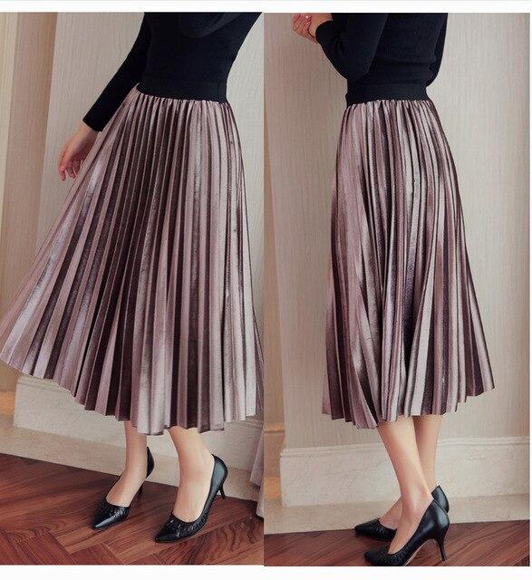 2017 Spring Korean Pleated Velvet Long Skirt For Women High Elastic Waist  Skirts Womens New Fashion
