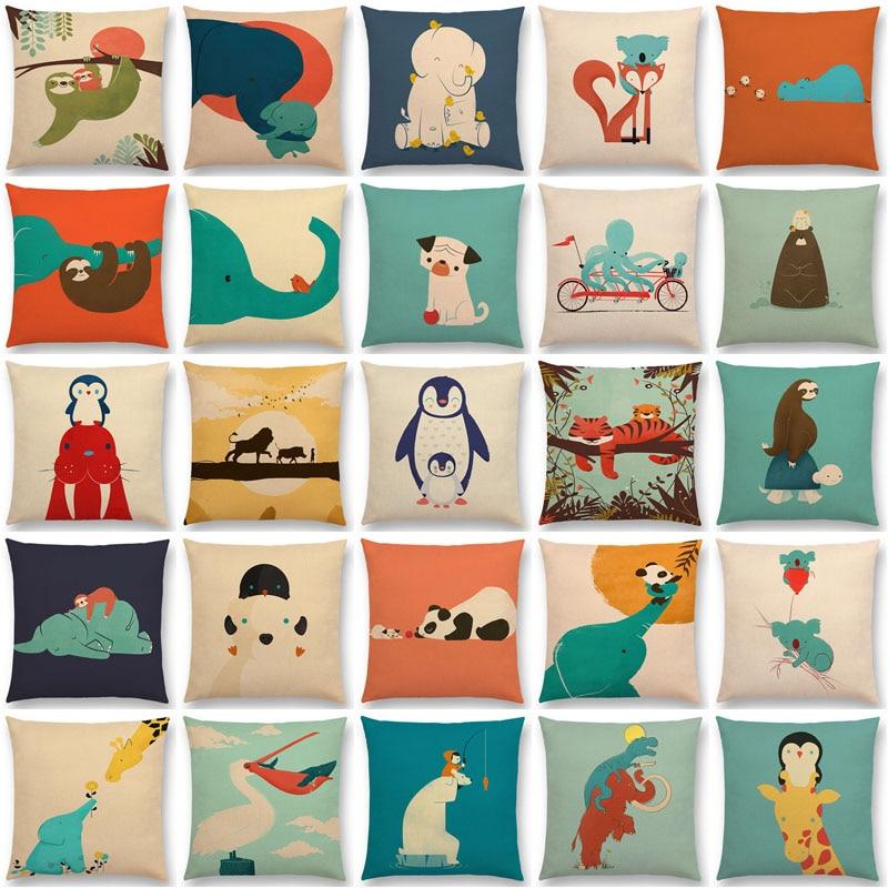 Latest Cartoon Animals Elephant Lion Tiger Sloth Penguin Shark Dog Whale Troll Bird Cushion Cover Car Sofa Throw Pillow Case