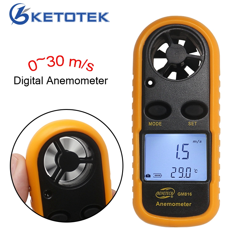 GM816 Mini Digital Anemometer Wind Speed 0~30m/s Temperature meter 10~45C with LCD Backlight Display digital anemometer lcd air wind speed gauge anemometer thermometer 0 30m s wind speed 10 45c temperature meter with backlit