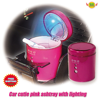 Car Accessories Lager Caliber Cute Pink Lady Blue Luminous Ashtray Car Styling