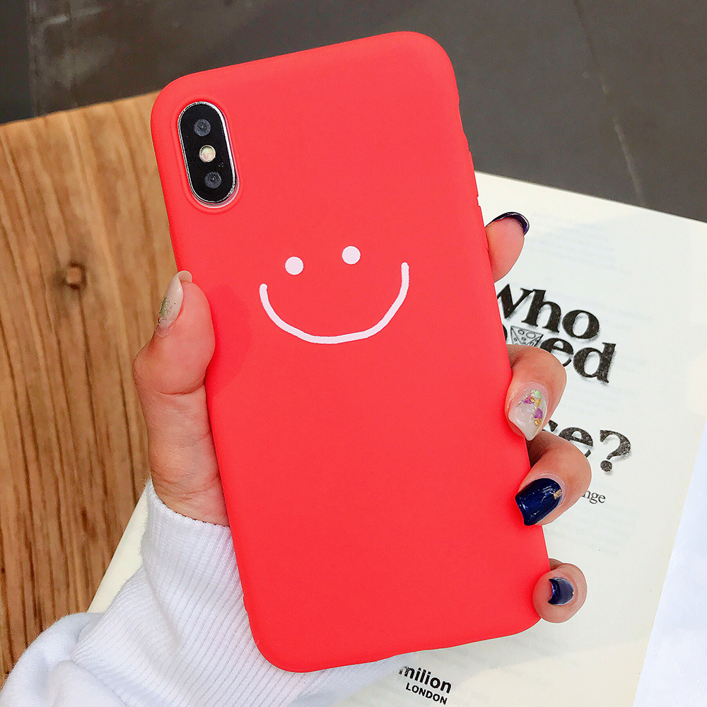 KIPX1083R_1_JONSNOW Phone Case for iPhone X XR XS Max Candy Color Smiley Pattern Soft Silicone Case for iPhone 7 8 6S 6 Plus Back Cover