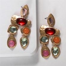 Boho Golden Big Dangle Earrings Women Crystal Bead Vintage Geometric Heart Punk Statement Drop Earring Jewelry