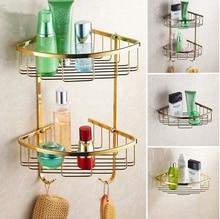 Настенные латунь ванной полки ванная комната шампунь полка ванна душ срок мыльница строительные материи