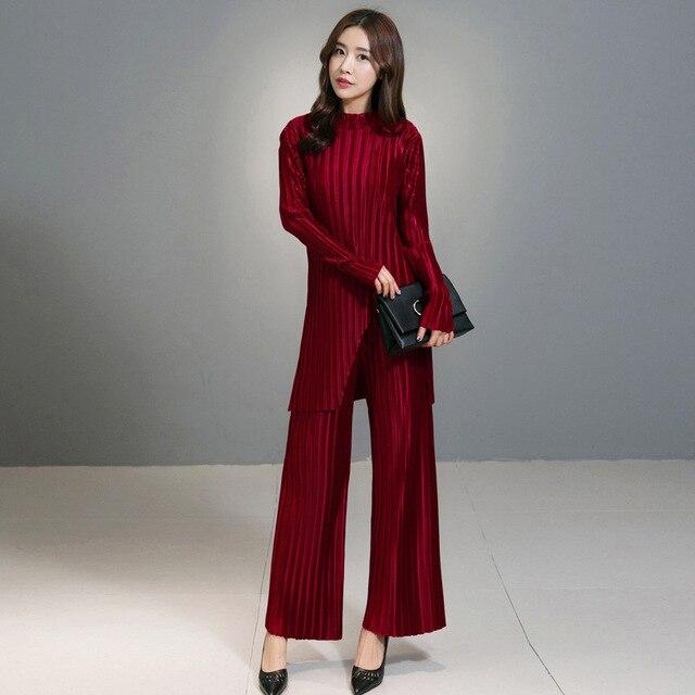 [Soonyour] 2017 весной новый сплошной цвет свободные длинные рукава куртки два комплекта женщин мода складки широкие брюки ноги костюм A001051S