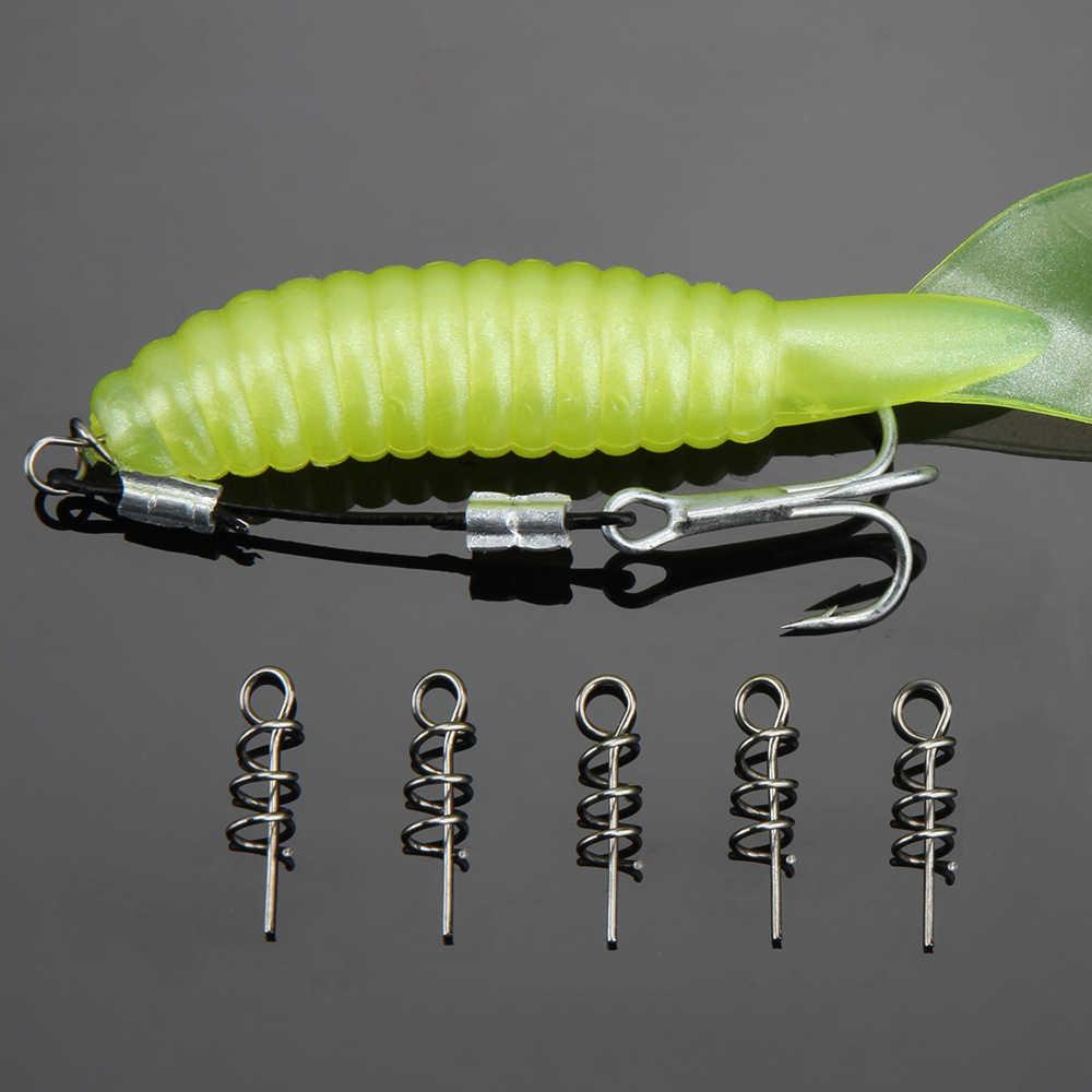 Spinpoler 50 ชิ้น/เซ็ตสแตนเลสฤดูใบไม้ผลิตะขอตะขอตกปลาสกรูเข็มล็อคถาวรสำหรับหนอนเหยื่อล่อตกปลาเครื่องมือ
