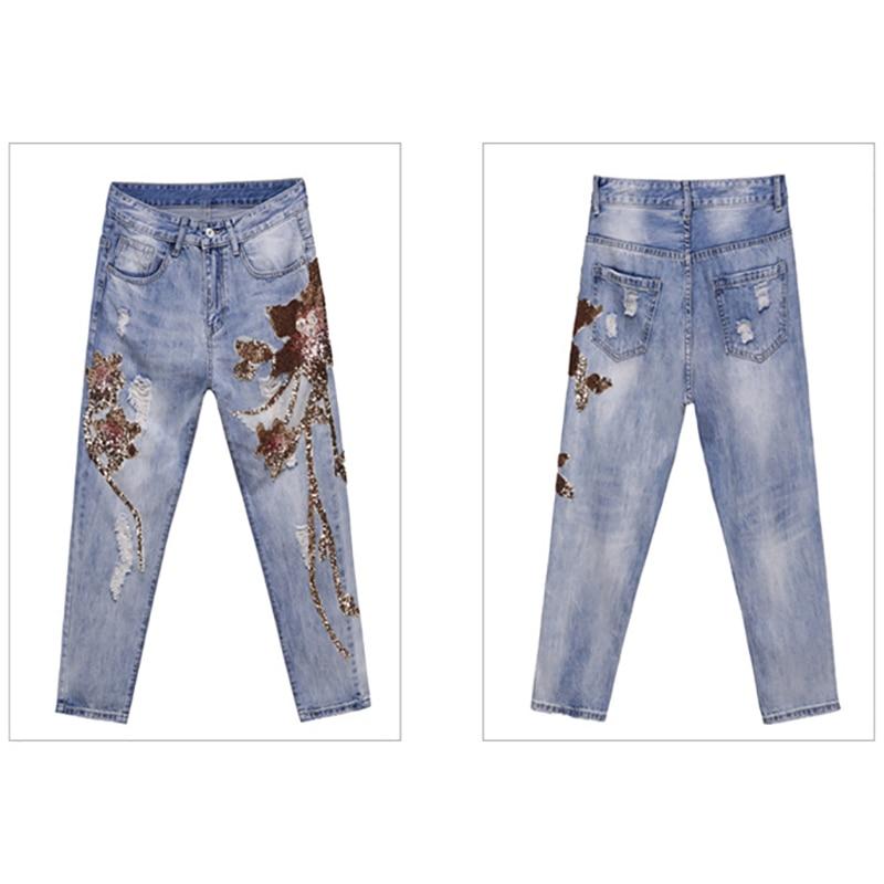Pantalon Haute Blue Jeans Bleu Fleur 2018 Rue Taille Lâche Harem Cheville Light longueur Femme Coton Broderie Femmes Denim Déchiré IznUt7Ux5