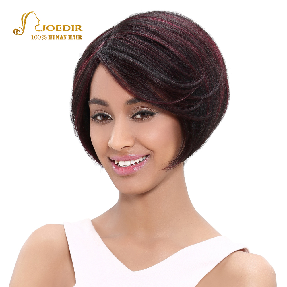 Joedir Hair Brazilian Straight Human Hair Wigs For Black Women Color DYF1B/99J Short Human Hair Wigs Machine Made Free Shipping