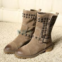 Rivets Studded Mid Calf High Suede Leather Winter Boots Round Toe Flat Heel Woman Shoes Quality Hottest Motorcycle