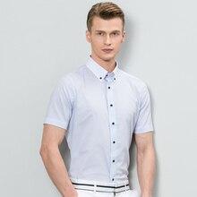 Демисезонный Для мужчин Рубашки для мальчиков мерсеризованный хлопок рубашка с принтом брендовая одежда платье Бизнес рубашка с короткими рукавами Camisa,