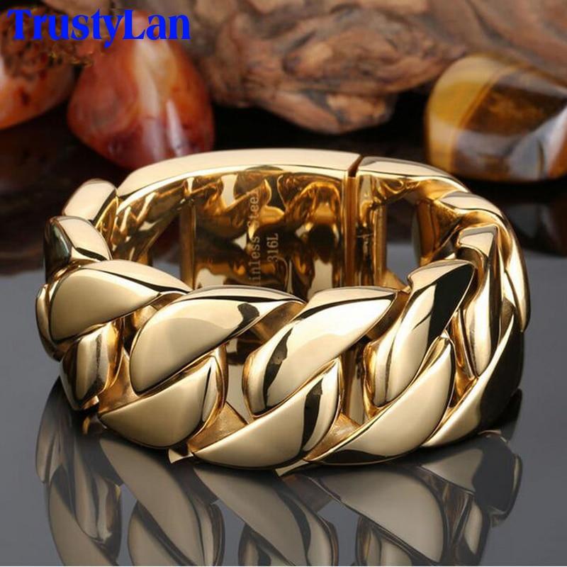 TrustyLan Yellow Gold Color Men's Bracelets & Bangles 32MM Wide Armband Heavy Solid Stainless Steel Bracelet Men Rock Jewelry