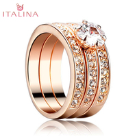 NEW 2016 Wholesale Italina Brand Austrian Crystal Jewelry 18K Rose Gold Platinum Couple Rings For Men