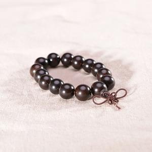 Image 2 - Natural Ebony Beads Bracelet Charm Buddhist Rosary Meditation Prayer Yoga Wooden Bracelet for Men Women Jewelry Dropshipping