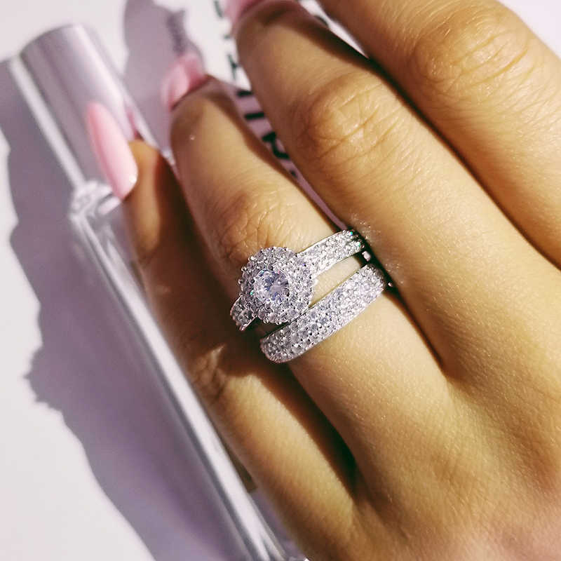 Real 925 Sterling Silver Wedding Ring Set For Women Bride Bridal