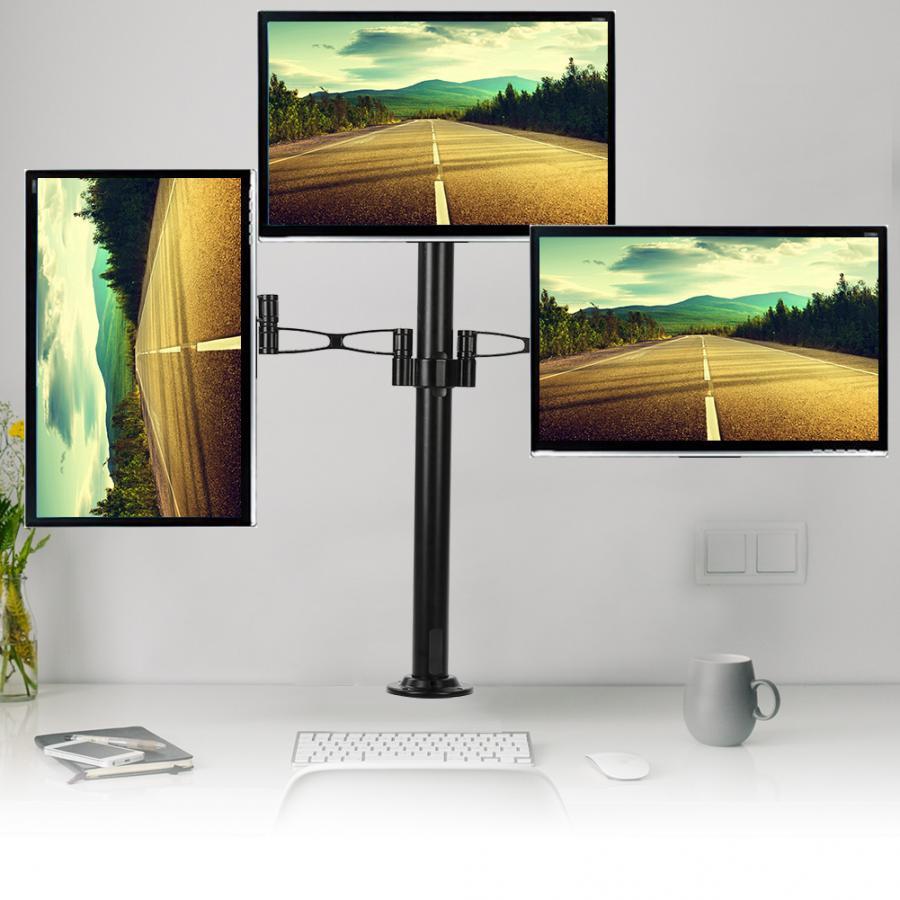 Alliage d'aluminium Triple moniteurs support de bureau support de montage 360 Rotation convient à 3 écrans 10