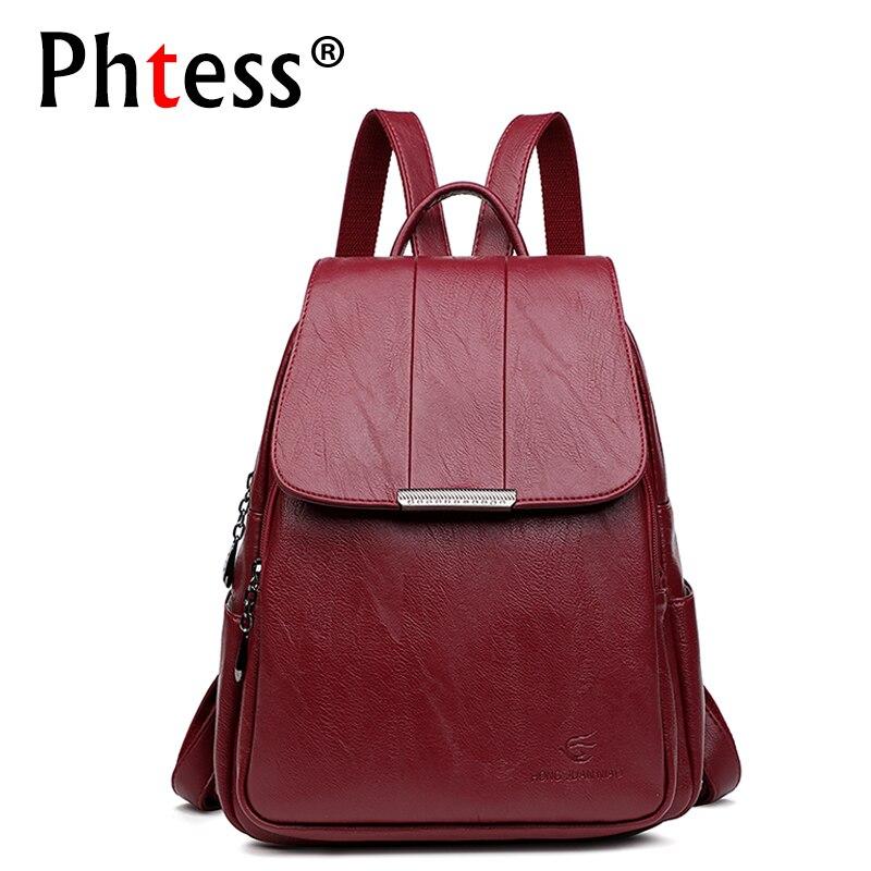 Women Leather Backpacks High Quality 2018 Female Vintage Backpack Travel Shoulder Bag Mochilas Feminina School Bags For Girls цена