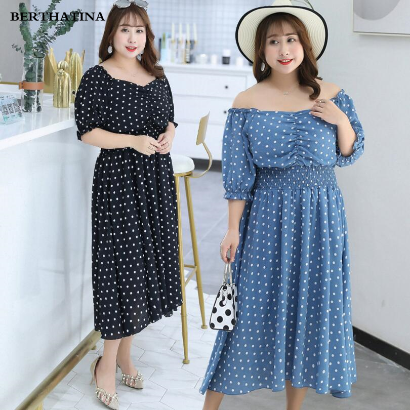 BERTHATINA 2018 Summer New Large Size Women's Fashion Trend Polka Dot Dress Hight Quality Multilateral Collar Casual Fat Dress