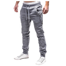 HOT2018 Outdoor spring autumn Double zipper pocket design sport hip hop loose jogging GYM sweatpants men Running track tousers