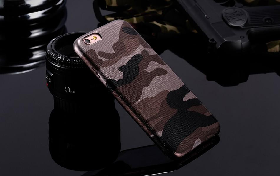 Dla iphone 7 5 5s se case wojskowy kamuflaż mężczyzn skórzane torby telefon sprawach dla iphone 7 7 plus pokrywa dla iphone 6 6s plus 5 5S se 13