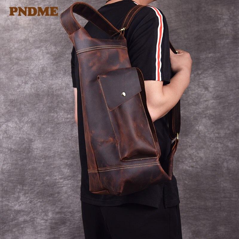 PNDME crazy horse cowhide men's chest bag casual designer luxury shoulder bag genuine leather large capacity crossbody bags