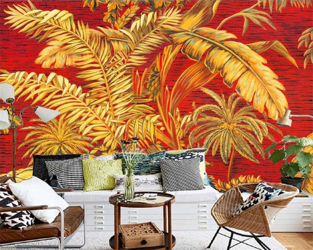 Beibehang Large custom murals wallpaper image hand painted oil palm banana trees 3d TV sitting room bedroom wall  wallpaper banana oil джинсовые брюки