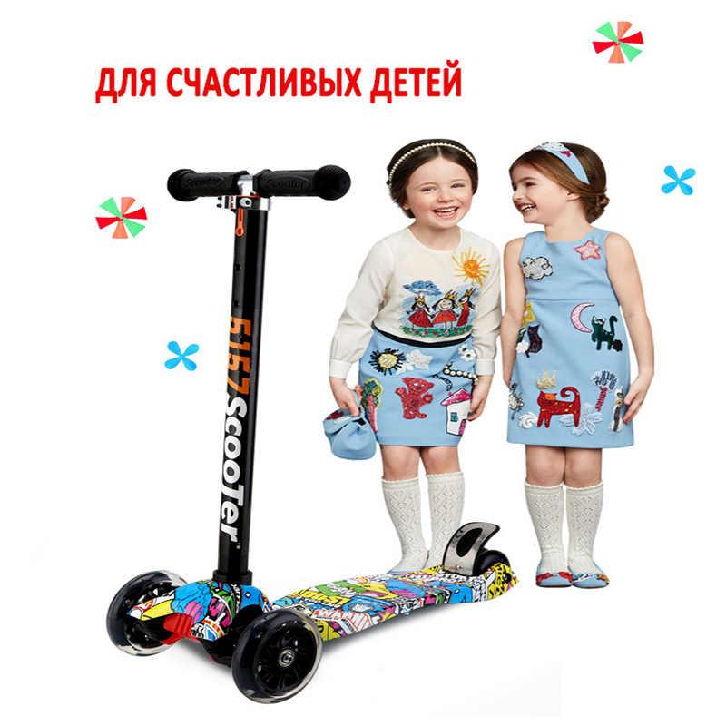 Anak-anak Scooter 2-3-4-6-12 Tahun Flash Roda Sepeda Anak-anak Anak Yo Mobil roda Empat Bayi Mainan Scooter Folding Slide Rem Keselamatan