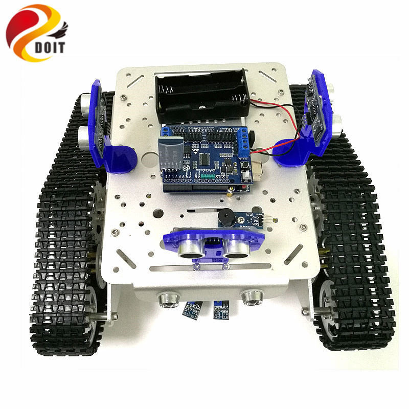 Bluetooth Control Smart Robot Tank Chassis with UNO R3 Board+Motor Drive Shield for Tracking and Obstacle Avoidance Bluetooth Control Smart Robot Tank Chassis with UNO R3 Board+Motor Drive Shield for Tracking and Obstacle Avoidance